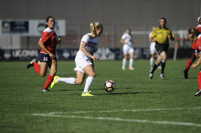 on September 11, 2016.Rachel Hill, Stephanie Ribeiro and Annika Schmidt scored in the game at Morrone Stadium on Sept. 11, 2016. (Jason Jiang/The Daily Campus)