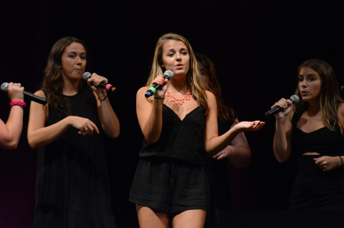 Ruby Fruit performs at the A Capella Rush Concert on Sat., Sept. 10, 2016 at the Jorgensen Center for Performing Arts.(Marissa Aldieri/The Daily Campus)