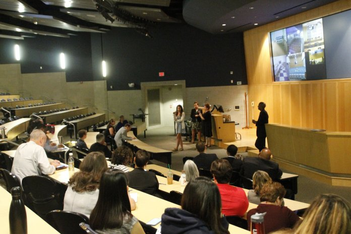 Students and faculty discuss issues and ask questions on how to better inclusivity in and around the classroom setting in an open forum. The event was led by Student Affairs and the newly established Office for Diversity. (Marissa Adieri/The Daily Campus)