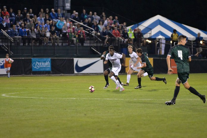 The UConn Huskeis destroyed the Loyola Greyhounds 5-1 on Saturday, Sept. 17 at Morrone Stadium. Two goals were scored by Abdou Thiam (11), the other three goals were scored by Alex Sanchez, Andrew Garres and Jakob Nerwinski. (Photo by Amar Batra/The Daily Campus)