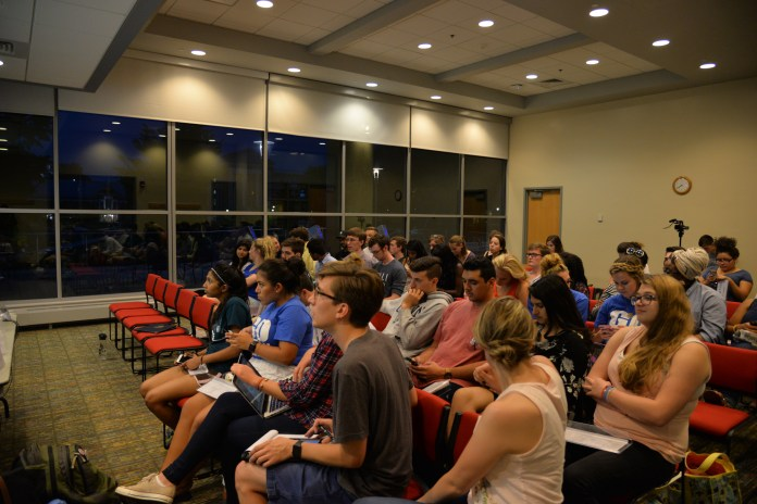 USG holds its first meeting of the school year in the Student Union on Wednesday, Aug. 31, 2016.. Items on the agenda included swearing in new senators, committee presentations and the discussion and passage of new election legislature. (Amar Batra/The Daily Campus)