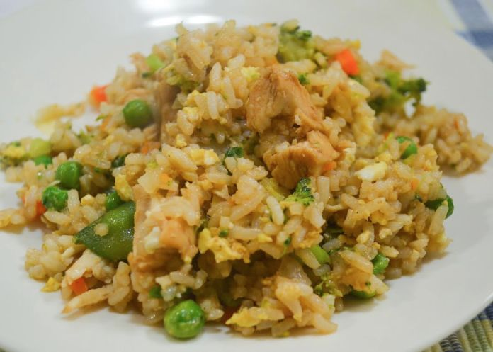 A serving of Claire's chicken fried rice with vegetables. (Claire Galvin/The Daily Campus)