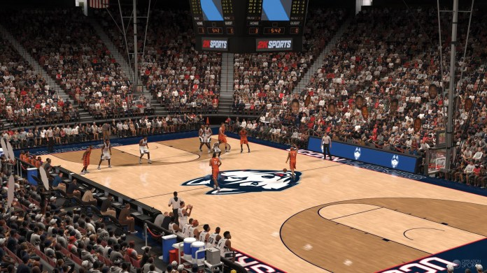A screenshot from the newly released NBA 2K17, with a special in-game addition that features dream teams of college basketball's most successful schools. (Photo courtesy of operationsports.com)
