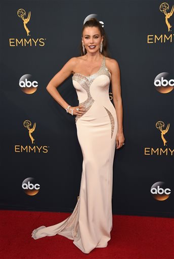 Sofia Vergara arrives at the 68th Primetime Emmy Awards on Sunday, Sept. 18, 2016, at the Microsoft Theater in Los Angeles. (Jordan Strauss/AP Photo