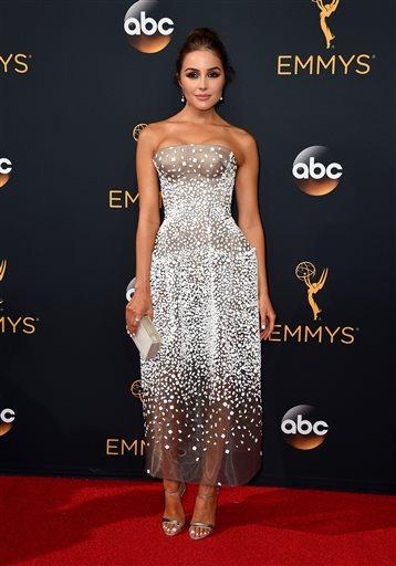 Olivia Culpo arrives at the 68th Primetime Emmy Awards on Sunday, Sept. 18, 2016, at the Microsoft Theater in Los Angeles. (Jordan Strauss/AP Photo)