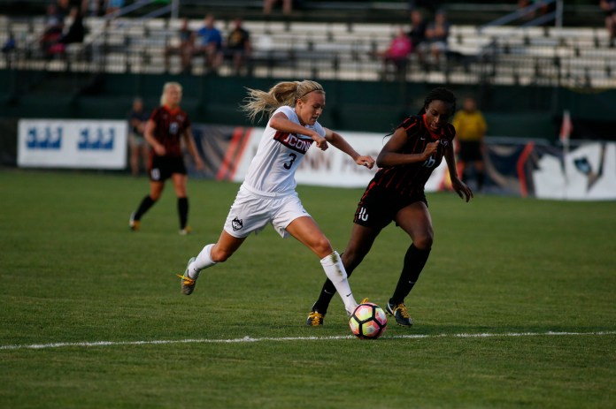 UConn women's soccer forward Rachel Hill takes on a Pacific opponent in their game against the team, which they won1-0 at home at Morrone Stadium on Friday,Sept.2, 2016.(Tyler Benton/The Daily Campus)