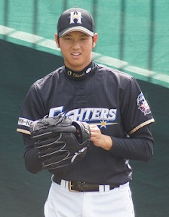 Shohei Otani warming up for the Nippon Ham Fighters. (Courtesy/ Wikimedia Commons)