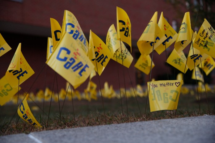 In honor of Suicide Prevention Week a field of memories will be on display for students at the University of Connecticut. (Tyler Benton/The Daily Campus)