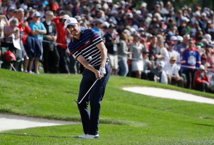 United States' Jimmy Walker chips to the 16th green during a practice round for the Ryder Cup golf tournament Thursday, Sept. 29, 2016, at Hazeltine National Golf Club in Chaska, Minn. (Chris Carlson/AP Photo)