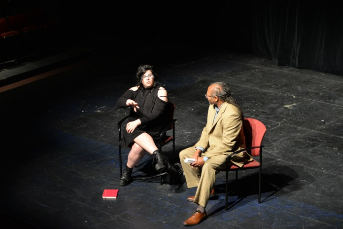2001 UConn MFA graduate and Walking Dead actress Ann Mahoney talks with students in UConn's BFA and MFA program about landing jobs after college in the Nafe Katter Theatre on Thursday, Sept. 29, 2016 (Amar Batra/The Daily Campus)