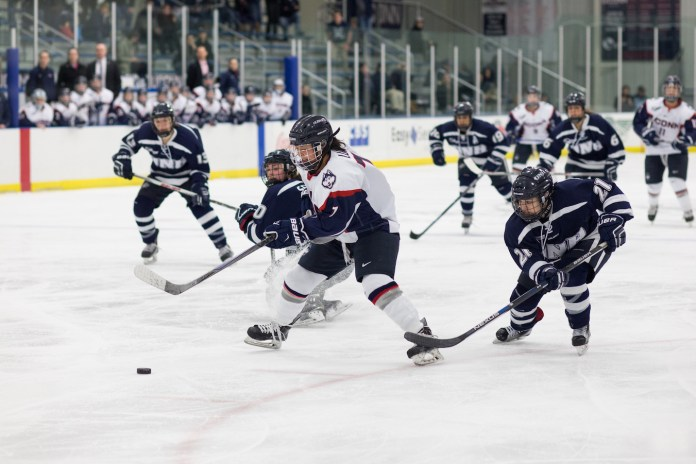 The UConn women's ice hockey team defeated the University of New Hampshire 4-3 in triple overtime on Saturday afternoon at the Mark Edward Freitas Ice Forum on 2/27/16. (Jackson Haigis/The Daily Campus)