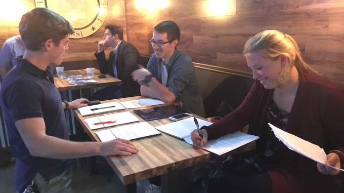 Members of the UConn College Republicans help State House candidate Mark Sargent fund-raise at Huskies Restaurant and Bar on Tuesday, Oct. 12, 2016. By the end of the night, Sargent had not fund-raised enough to qualify for public funding.(Christopher McDermott/The Daily Campus)