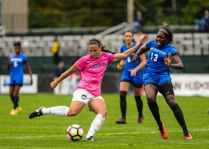The women's soccer team defeats Memphis 4-1 on Sunday, October 2, 2016. The Huskies, led by redshirt senior Stephanie Ribeiro, are currently on a seven-game unbeaten run. Ribeiro is the nation's leading scorer in game winning goals with seven and is amongst the top scorers in the country with 12.(Jason Jiang/ The Daily Campus)
