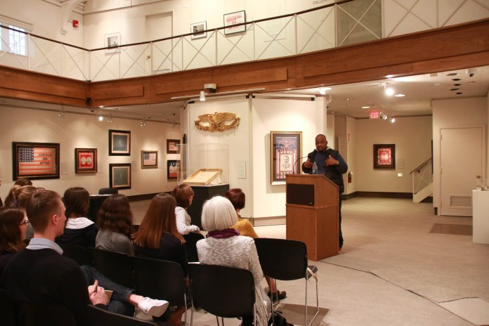 """University of Mississippi Kiese Laymon talks about how is two books """"Long Division"""" and """"How To Slowly Kill Yourself and Others in America"""" reflected on his life at Thursday, Oct. 13, 2016 in the William Benton Museum. (Yuwei Zhao/The Daily Campus)"""