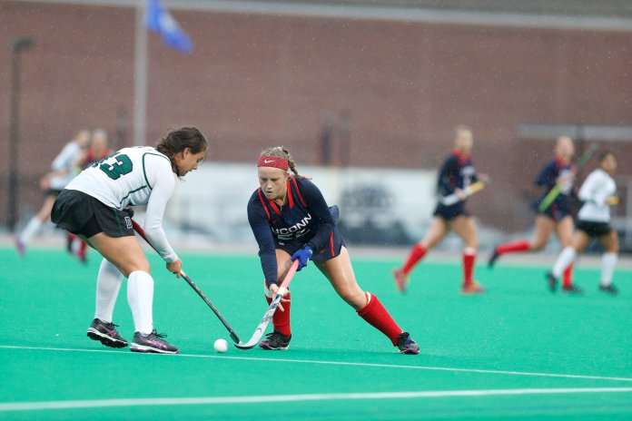 UConn freshman forward Svea Boker fights for the ball in the Huskies' win 9-0 over Dartmouth on Sunday Oct. 9, 2016, at the Sherman Sports Complex.