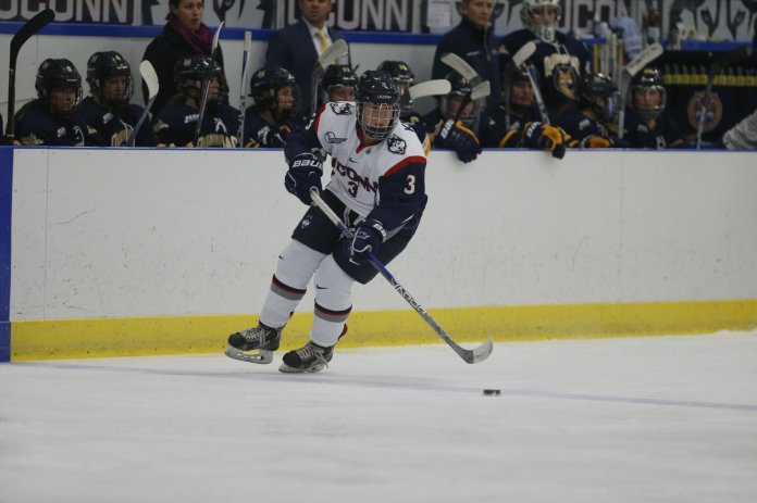 The Huskies played Quinnipiac University on Friday evening and lost 0-3. The Huskies struggled to get shots on goal from the beginning. They look to improve their record this weekend when they host Penn State.(Tyler Benton/ The Daily Campus)