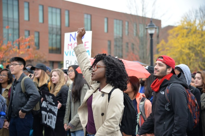Students participate in the Rally for the People on Oct. 10, 2016. (Amar Batra/The Daily Campus)