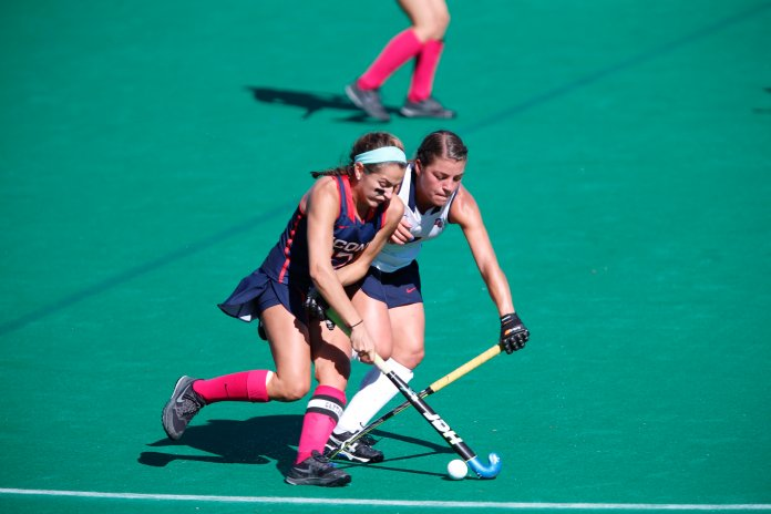 UConn midfielder Karlie Heistand moves the ball against Liberty University on October 15th. The Huskies won 7-2. (Tyler Benton/The Daily Campus)