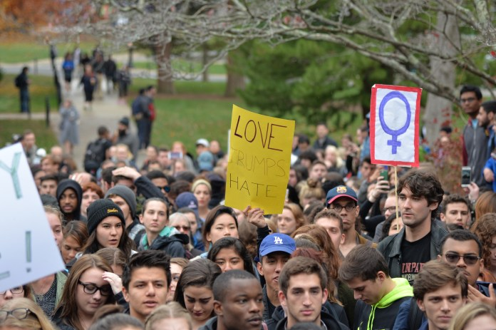 """""""Mr. Trump is not my President,"""" was the rallying cry heard around campus on Wednesday afternoon, intermingled with emotional stories from students belonging to various minority groups on campus. (Amar Batra/The Daily Campus)"""