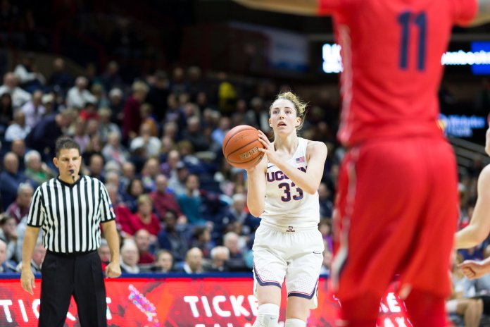UConn's Katie Lou Samuelson takes a shot during the Huskies 98-65 win over Dayton on Nov. 22, 2016 in Gampel Pavilion. (Tyler Benton/The Daily Campus)