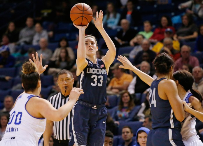 Connecticut's Katie Lou Samuelson (33) shoots in front of Tulsa forward Kendrian Elliott (00),UConn's Napheesa Collier (24) and Tulsa's Ebony Parker, right, during the first quarter of an NCAA basketball game in Tulsa, Okla., Tuesday, Jan. 17, 2017. (Sue Ogrocki/AP)