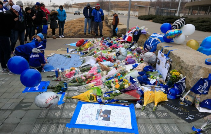 Fans create a memorial for Kansas City Royals baseball pitcher Yordano Ventura outside Kauffman Stadium in Kansas City, Mo., Sunday, Jan. 22, 2017.Ventura died Sunday in a car crash on a stretch of highway near the town of San Adrian in his native Dominican Republic. He was 25. (Orrin Wagner/AP)