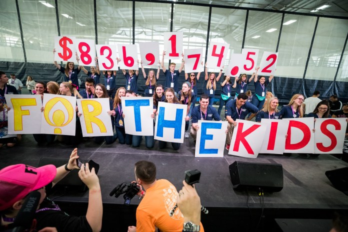 The final fundraised amount for HuskyTHON 2017 is revealed to participants at the end of the dance marathon on Sunday, Feb. 17 2017. (Owen Bonaventura/The Daily Campus)