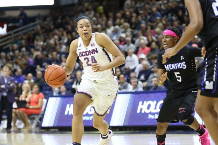 UConn forward Napheesa Collier (24) drives to the basket against Memphis on Feb. 25, 2017 at Gampel Pavilion. The Huskies beat the Tigers 91-48. (Jackson Haigis/The Daily Campus)