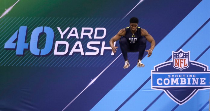 Connecticut defensive back Obi Melifonwu prepares to run the 40-yard dash at the NFL football scouting combine Monday, March 6, 2017, in Indianapolis. (AP Photo/David J. Phillip)