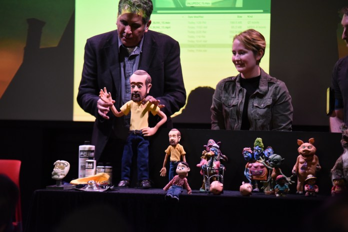In Barnes and Noble, Michael Bannon talks about stop motion animation for the Spring Puppet Forum Series on Wednesday, Match 8,2017. Michael Bannon is the director of advertising production for Bob's Discount Furniture. (Charlotte Lao/The Daily Campus)