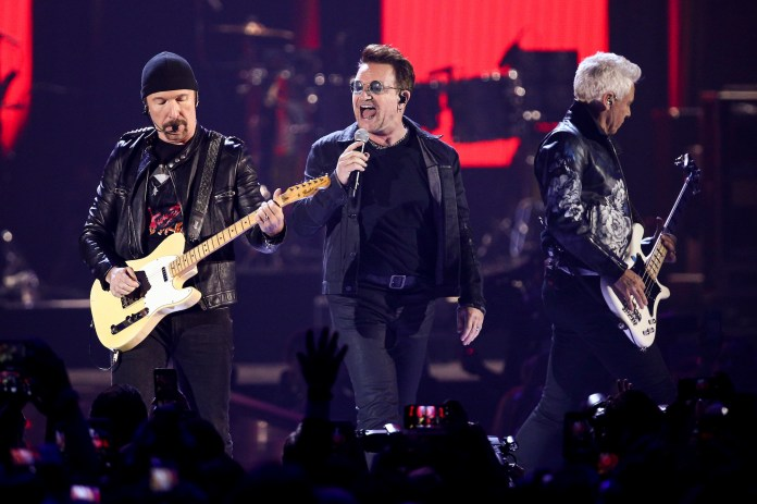 In this Sept. 23, 2016, file photo, The Edge, from left, Bono and Adam Clayton of the music group U2 perform at the 2016 iHeartRadio Music Festival - Day 1 in Las Vegas.(John Salangsang/AP Exchange)