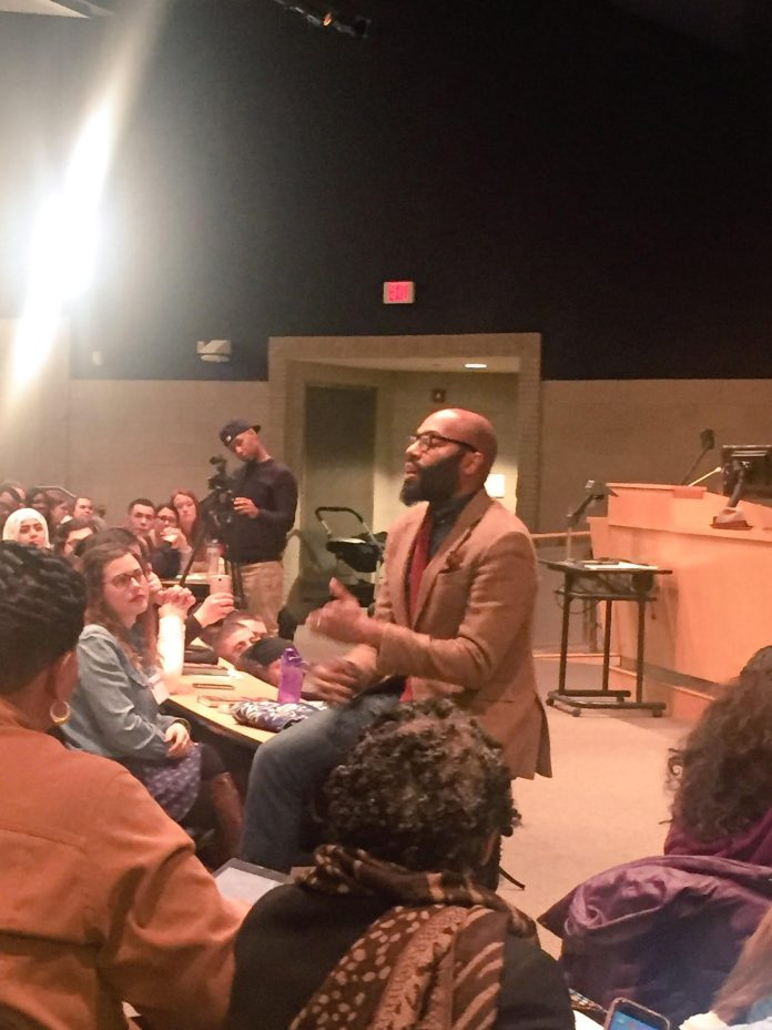 The day concluded with a keynote speaker, Dr. Christopher Emdin, a professor from Columbia University, published author and influential speaker on education issues.(Photo courtesy of Christopher Emdin's Twitter @chrisemdin)