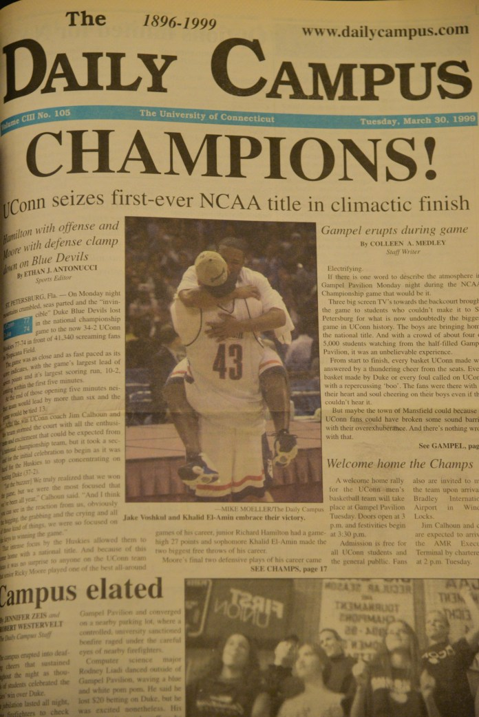 The Daily Campus cover from the day that the UConn men's basketball team won its first national title. (Archive/The Daily Campus)