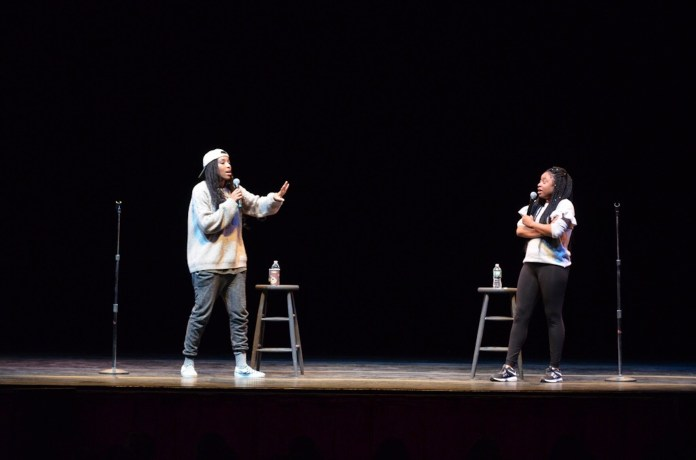 """Comedy duo Jessica Williams and Phoebe Robinson join the Jorgensen audience on Tuesday, March 29, for a laid-back but knee-jerking night of standup comedy. Williams has previously worked on """"The Daily Show,"""" and Robinson on """"Broad City."""" (Akshara Thejaswi/The Daily Campus)"""