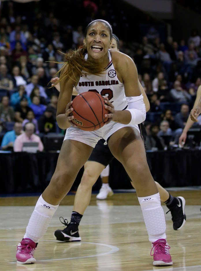 South Carolina forward A'ja Wilson reacts after being called for a charging foul during the second half against Florida State in a regional final game of the women's NCAA college basketball tournament, Monday, March 27, 2017.(AP Photo/Rich Pedroncelli)