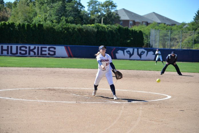 The UConn softball team will finally play a home game Tuesday when they host UMass Lowell. They'll host Hofstra in a doubleheader on Wednesday. (Amar Batra/The Daily Campus)