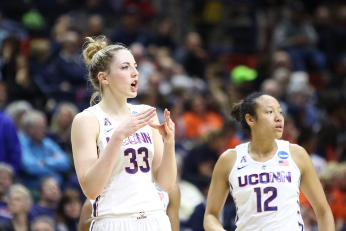 The UConn women's basketball team defeated the Syracuse Orange 94-64 on Monday night at Gamble Pavilion to advance to their 24th straight Sweet Sixteen. Kia Nurse led the Huskies with 29 points. (Jackson Haigis/The Daily Campus)