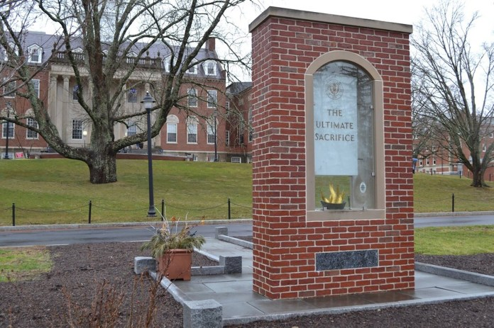 Members of the National Guard are now guaranteed financial aid waivers for in-state tuition. The Ultimate Sacrifice Veterans Memorial is located on the Great Lawn across from Wilbur Cross Library. (Olivia Stenger/The Daily Campus)