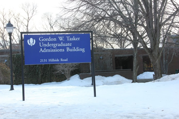 UConn's Gordon W. Tasker Undergraduate Admissions Building. Our writer discusses the impact highly selective admissions processes have on application numbers. (File Photo/ The Daily Campus)