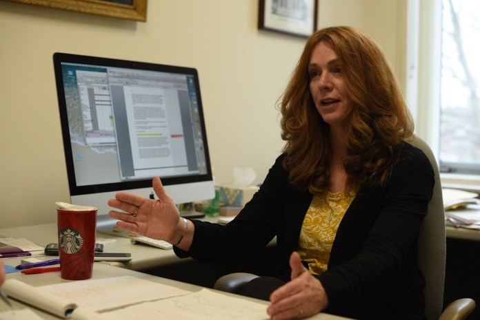 Dr. Diane Quinn explains her latest discovery on obesity. Her research focuses on the experiences of members of stigmatized groups, self-related cognitions, behavior and affect. (Zhelun Lang/The Daily Campus)