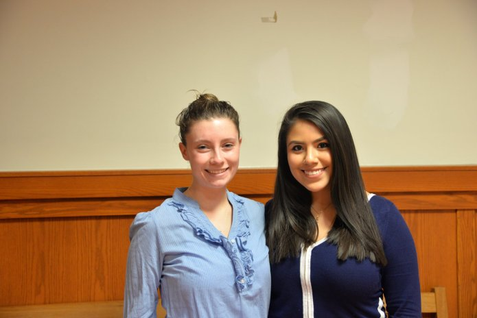 Newly elected Vice President Lysette Johson (left) and newly elected President Irma Valverde (right). (Amar Batra/The Daily Campus)