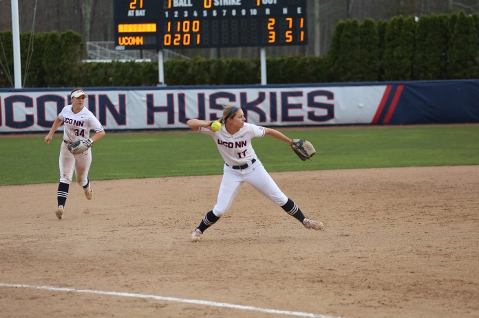 The Huskies take on the Boston College Eagles Tuesday afternoon at Burrill Family Field in Storrs, CT. The Huskies held on to their 3-2 lead to win the game, moving their season total to 14-19. (Tyler Benton/ The Daily Campus)