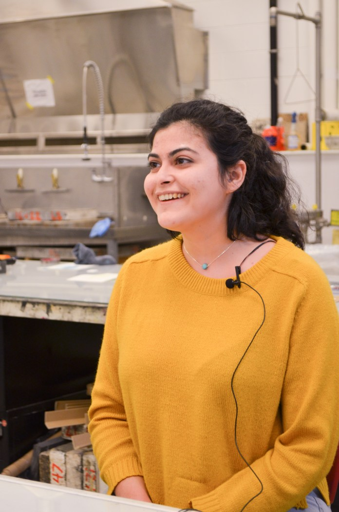 Through her art process, Abouchacra said she aims to create unity. Much of this comes from her reflection on xenophobia in America so her artwork focuses on groupings. (Akshara Thejaswi/The Daily Campus)