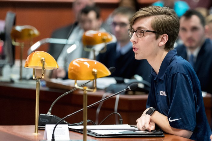 Students from the UConn Undergraduate Student Government go to the Connecticut State Capitol Building in Hartford, CT to testify against potential UConn budget cuts on Wednesday, Feb. 15, 2017. President Dan Byrd said he is proud of the work USG has done in the last year.