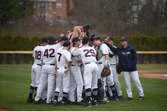 UConn baseball beats Quinnipiac University on April 17th at home with a final score of 4-3. (Zhelun Lang/The Daily Campus)