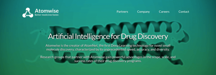 Researchers at UConn will be able to take advantage of the new artificial intelligence program at Atomwise that seeks to help biological researchers transition from basic research to developing therapies for various illnesses. (Screenshot from www.atomwise.com)