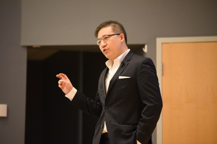 Eric Feigl-Ding, PhD, Harvard School of Public Health and Toxin Alert website, gives the 2017 John and Valerie Rowe Scholars Visiting Lecture at the SU theatre on April 19th. He talked about his story of being successful as well as personal suggestion to college students. (Zhelun Lang/The Daily Campus)