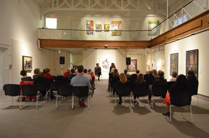 Dr. Alexis Boylan and Dr. Emily Burns hold a dialogue with members of the UConn community about Ellen Emmet Rand and other women artists of the early 20th century. Dr. Boylan is the curator of the Rand Exhibition at the Benton Museum, and Dr. Burns is an assistant professor at Auburn University's Department of Art and Art History. (Akshara Thejaswi/The Daily Campus)