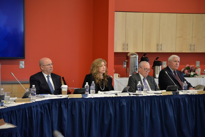 University president Susan Herbst listens as UConn general counsel Richard Orr presents information about the sale of the West Hartford campus during the UConn Board of Trustees meeting on April 26, 2017 in the Next Gen Hall. (Amar Batra/The Daily Campus)