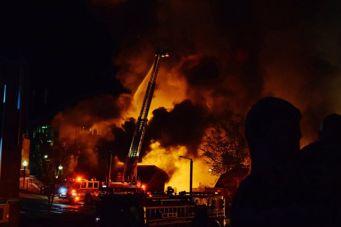The historic landscaping building caught on fire late Monday night. (Photo courtesy Rafeed Hussain)